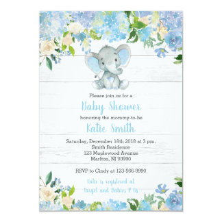 Blue Elephant Baby Shower Invitations for a Boy