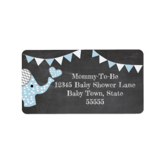 Blue Elephant Baby Shower Label