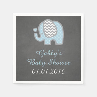 Blue Elephant Baby Shower Napkins