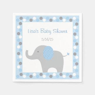 Blue Elephant Baby Shower Paper Napkin