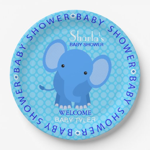 Baby Shower Plate: Blue Elephant Baby Shower Paper Plate 9 Inch Paper Plate