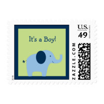 Blue Elephant Baby Shower Postage Stamps