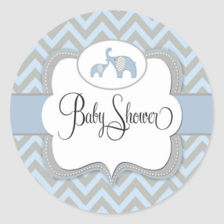 Marvelous Blue Elephant Baby Shower Sticker