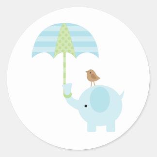 Blue Elephant Baby Shower Stickers