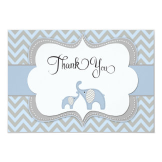 Blue Elephant Baby Shower Thank You Card
