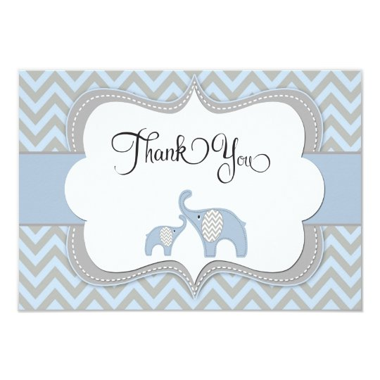 Blue Elephant Baby Shower Thank You Card | Zazzle