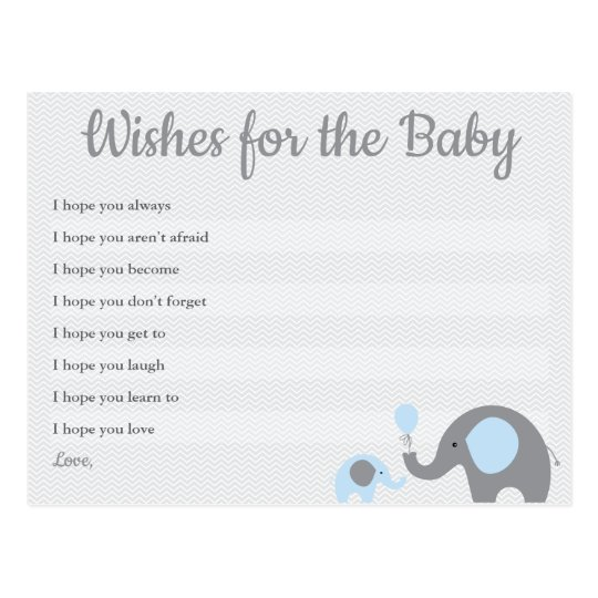 Baby Shower Karte Text.Blue Elephant Baby Shower Wishes For Baby Cards