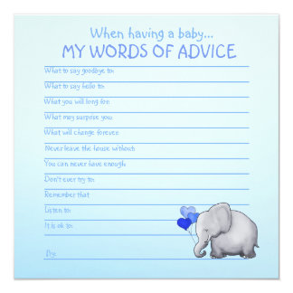 Blue Elephant Baby Shower Words of Advice for Baby Card