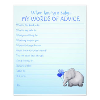 Blue Elephant Baby Shower Words of Advice Game Flyer