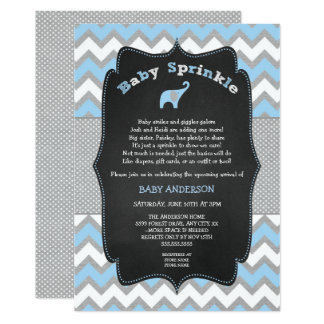 Blue elephant baby sprinkle, boy baby shower card