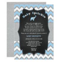 Blue elephant baby sprinkle, boy baby shower invitation