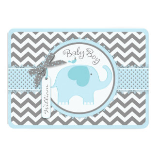 Blue Elephant Bird and Chevron Print Baby Shower 5x7 Paper Invitation Card