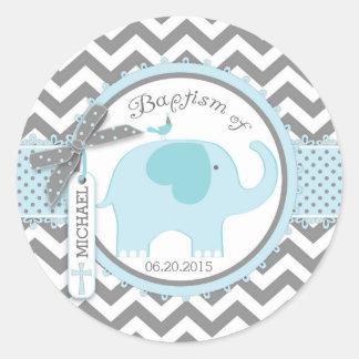 Blue Elephant Bird and Chevron Print Baptism Classic Round Sticker