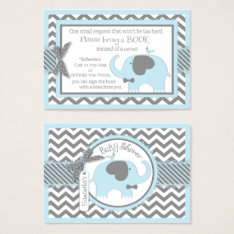 Blue Elephant Bird Bring A Book Card at Zazzle
