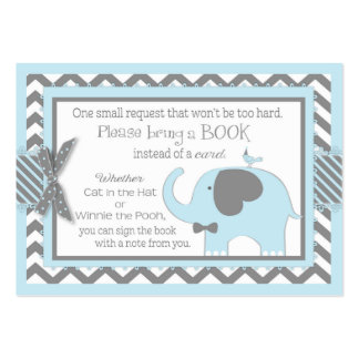 Blue Elephant Bird Bring a Book Card Large Business Card
