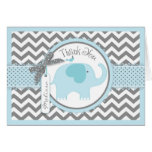 Blue Elephant Bird Chevron Print Thank You Card
