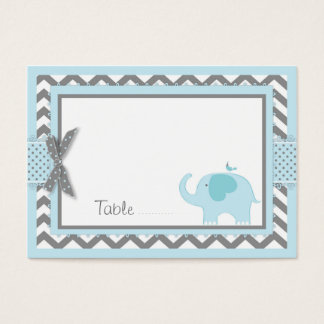 Blue Elephant Bird Place Card