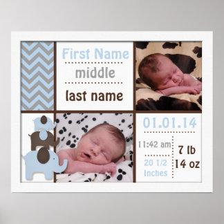 Blue Elephant Birth Stats Photo Nursery Decor Poster