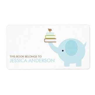 Blue Elephant Bookplates Labels label
