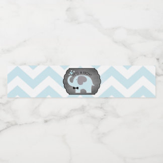 Blue Elephant Bow-tie Chevron Baby Shower Water Bottle Label