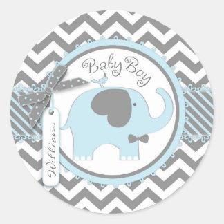 Blue Elephant Bow-tie Chevron Print Baby Shower Classic Round Sticker