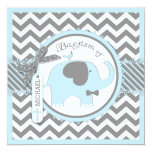 Blue Elephant Bow Tie Chevron Print Baptism 5.25x5.25 Square Paper Invitation Card
