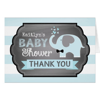 Blue Elephant Bow-tie Chevron Print Thank You Card