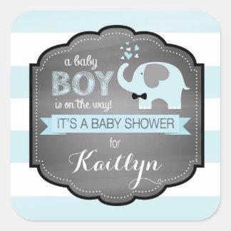 Blue Elephant Bow-tie Stripe Baby Shower Square Sticker