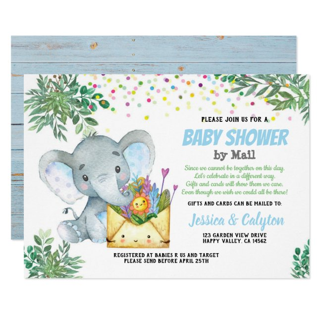 Blue Elephant boy baby shower by mail greenery Invitation