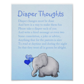 Blue Elephant Boy Baby Shower Diaper Thoughts Game Poster