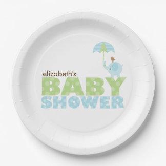 Blue Elephant Boy Baby Shower Paper Plate