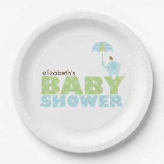 elephant baby shower plates