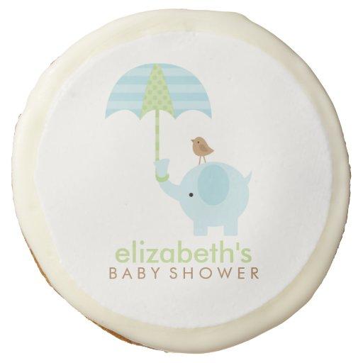 blue elephant boy baby shower sugar cookie zazzle