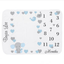 Blue Elephant Boy Milestone Monthly Photo Prop Baby Blanket