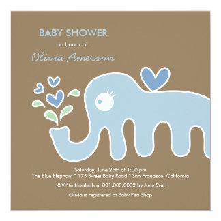 Blue Elephant Boy Whimsical Baby Shower Invitation
