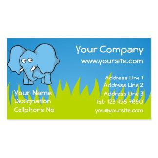 Blue elephant cartoon business card