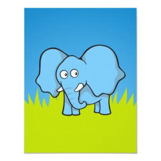 Blue elephant cartoon card