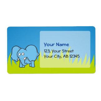 Blue elephant cartoon label