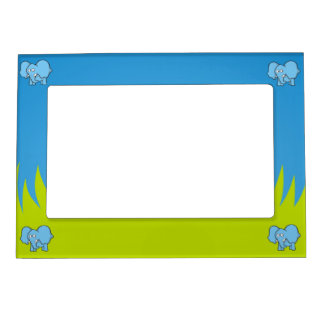 Blue elephant cartoon magnetic picture frame