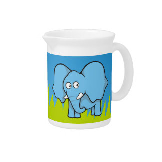 Blue elephant cartoon pitcher