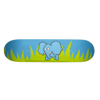 Blue elephant cartoon skateboard deck