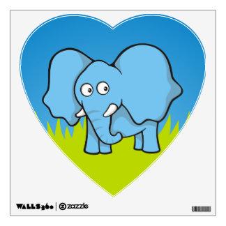 Blue elephant cartoon wall sticker