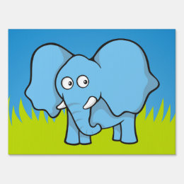 Blue elephant cartoon yard sign