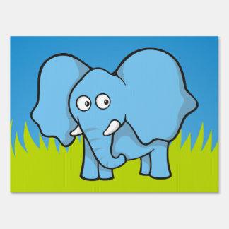 Blue elephant cartoon yard sign