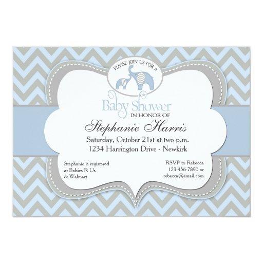 blue elephant chevron baby shower invitation 5 x 7 invitation car
