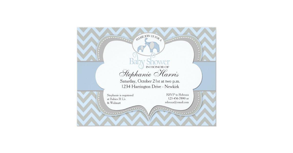 blue elephant chevron baby shower invitation zazzle