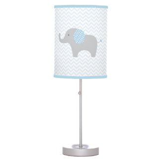 Blue Elephant Chevron Nursery Lamp