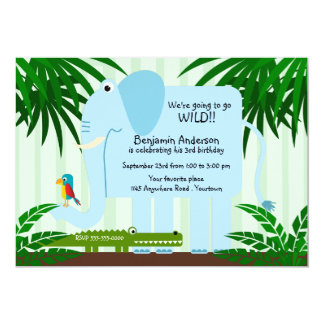 "Blue Elephant Childs Birthday Invitation 5"" X 7"" Invitation Card"