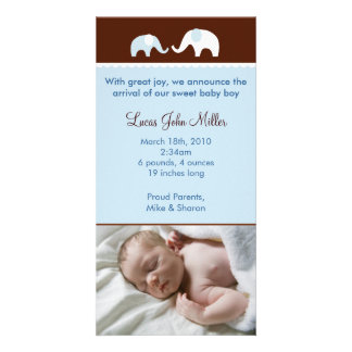 Blue Elephant Custom Photo Birth Announcements Personalized Photo Card