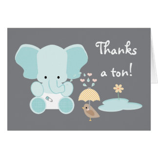 Blue Elephant Diaper Baby Shower Thank You Card